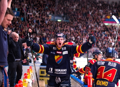 Djurgården Hockey's Marcus Högström screams out in joy after the referee has allowed their goal in extra-time in the game against Färjestads BK. 2017-03-13