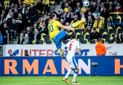 Zlatan Ibrahimovic shows his agility in a friendly game between Sweden and Czech republic.
