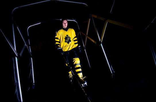 Robin Kovács - AIK, on his way to enter the ice ahead of the game against Asplöven in HockeyAllsvenskan. This day AIK celebrated 125 years as a club, therefore the special retro designed jersey. 2016-02-15
